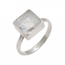 Faceted Square Shape Rainbow Moonstone 925 Sterling Silver Designer Ring