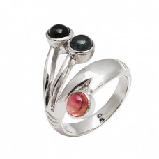 Handmade Designer Multi Tourmaline Round Gemstone 925 Sterling Silver Ring Jewelry