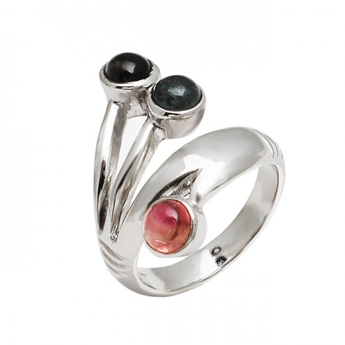 Handmade Designer Multi Tourmaline Round Gemstone 925 Sterling Silver Ring Jewelry