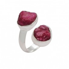 Raw Material Ruby Rough Gemstone 925 Sterling Silver Handcrafted Designer Ring
