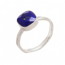 925 Sterling Silver Square Shape Lapis Lazuli Gemstone Designer Ring Jewelry