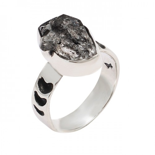 Herkimer Diamond Rough Gemstone 925 Sterling Silver Designer Ring Jewelry