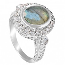 Pave CZ Labradorite Crystal Gemstone 925 Sterling Silver Designer Ring Jewelry