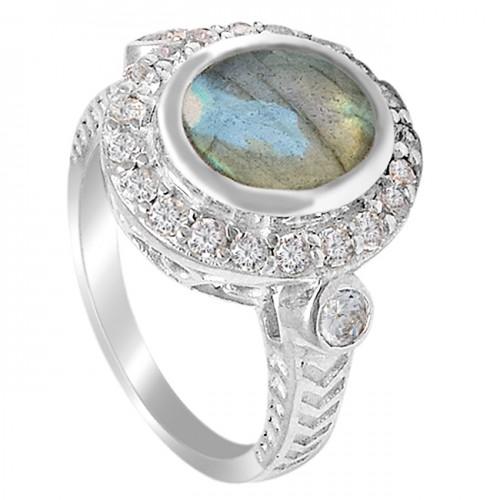 Pave CZ Labradorite Crystal Gemstone 925 Sterling Silver Designer Ring Jewelry