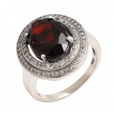 Cocktail Designer Garnet Cubic Zirconia Gemstone 925 Sterling Silver Ring Jewelry