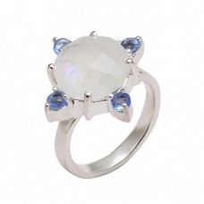 Rainbow Moonstone Iolite Gemstone 925 Sterling Silver Prong Setting Ring