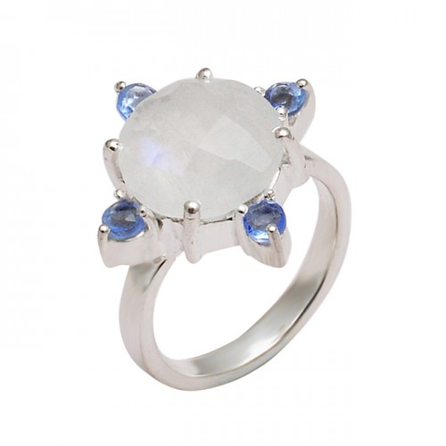 Rainbow Moonstone Iolite Gemstone 925 Sterling Silver Prong Setting Ring
