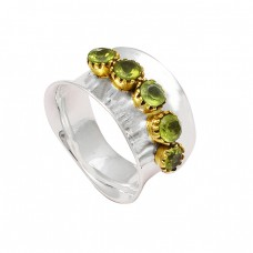 Faceted Round Peridot Gemstone 925 Sterling Silver Hammered Designer Ring Jewelry