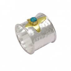 Turquoise Round Cabochon Gemstone 925 Sterling Silver Gold Plated Ring Jewelry