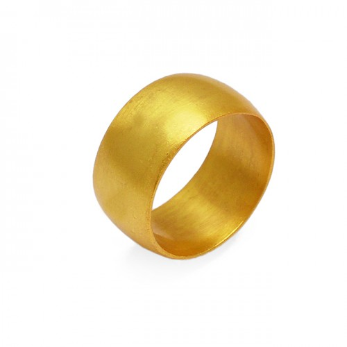 Handmade Designer Plain 925 Sterling Silver Gold Plated Ring Jewelry