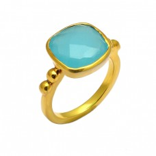 Square Shape Aqua Chalcedony Gemstone 925 Sterling Silver Gold Plated Ring