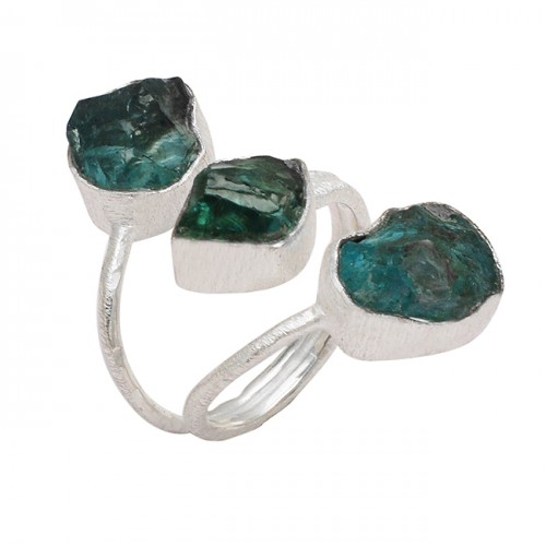 Apatite Rough Raw Material Gemstone Handcrafted Designer 925 Silver Ring Jewelry