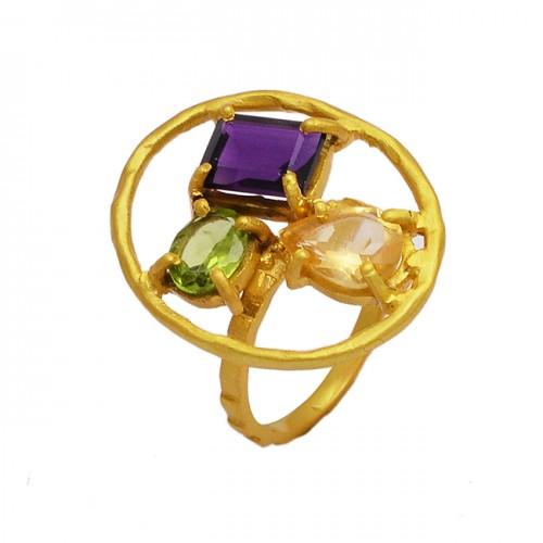 Amethyst Peridot Rose Quartz Gemstone 925 Sterling Silver Gold Plated Ring