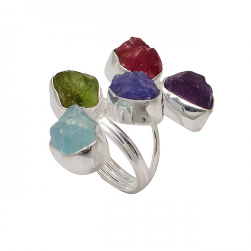 Raw Material Multi Color Rough Gemstone 925 Sterling Silver Handmade Ring Jewelry