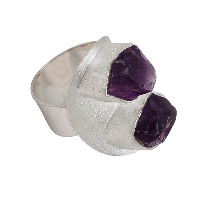Unique Band Designer Purple Amethyst Rough Raw Material Gemstone 925 Silver Ring Jewelry