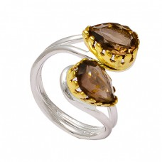 Pear Shape Smoky Quartz Gemstone 925 Sterling Silver Gold Plated Band Ring
