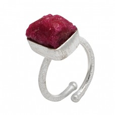 Ruby Rough Gemstone 925 Sterling Silver Designer Adjustable Ring Jewelry