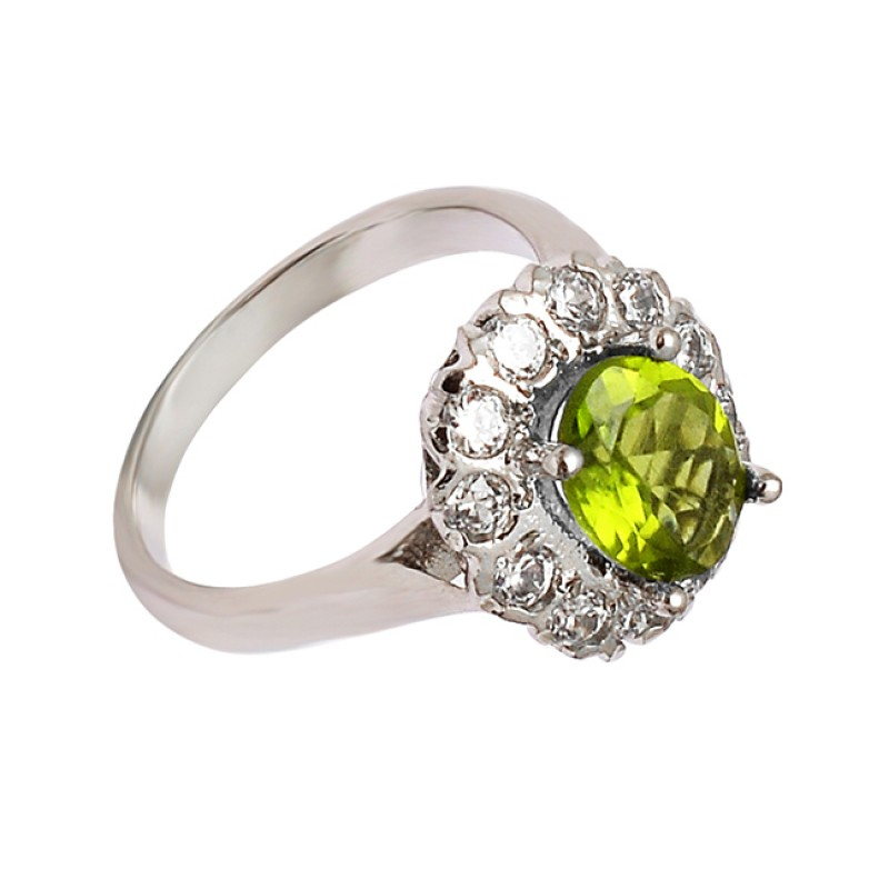 Faceted Oval Round Peridot Cubic Zirconia Gemstone 925 Sterling Silver Ring Jewelry