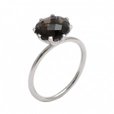 Faceted Round Shape Smoky Quartz Gemstone 925 Sterling Silver Ring
