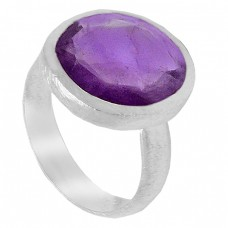 925 Sterling Silver Oval Cut Shape Amethyst Gemstone Ring Jewellery