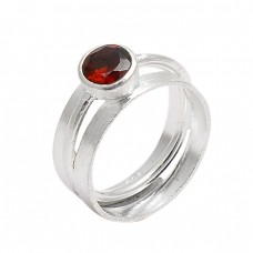 925 Sterling Silver Round Shape Garnet Gemstone Designer Ring Jewelry
