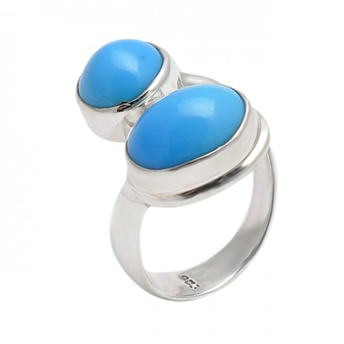 Round Oval Shape Turquoise Gemstone 925 Sterling Silver Designer Band Ring
