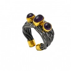 Oval Round Shape Garnet Gemstone 925 Sterling Silver Gold Plated Ring Jewelry