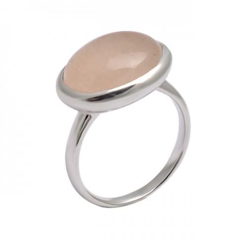 Oval Shape Rose Chalcedony Gemstone 925 Sterling Silver Handmade Ring