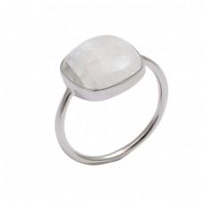 Square Shape Rainbow Moonstone 925 Sterling Silver Handmade Designer Ring