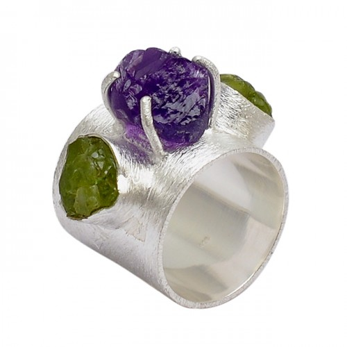 Raw Material Amethyst Peridot Rough 925 Sterling Silver Prong Setting Ring Jewelry