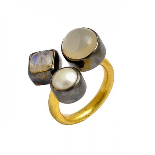 Moonstone Pearl Gemstone 925 Sterling Silver Gold Plated Designer Ring