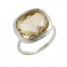 Cushion Shape Citrine Gemstone 925 Sterling Silver Handmade Designer Ring