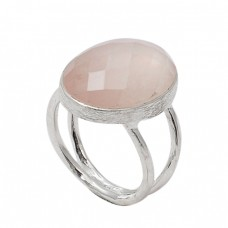 Oval Shape Rose Quartz Gemstone 925 Sterling Silver Designer Ring Jewelry