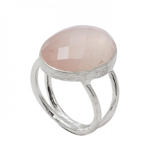 Oval Shape Rose Quartz Gemstone 925 Sterling Silver Designer Ring Jewelry