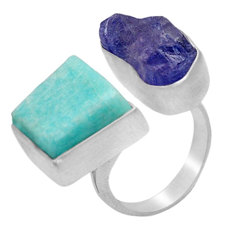 Raw Material Rough Amazonite Tanzanite Gemstone 925 Sterling Silver Handamde Jewelry Ring