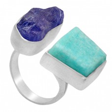 Raw Material Rough Amazonite Tanzanite Gemstone 925 Sterling Silver Handamde Jewelry Ring