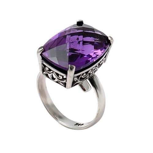 Rectangle Shape Amethyst Gemstone 925 Sterling Silver Prong Setting Ring