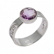 925 Sterling Silver Round Shape Amethyst Gemstone Designer Ring Jewelry