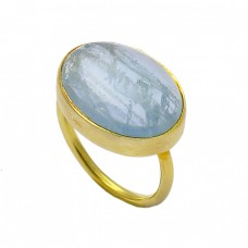 Oval Shape Aquamarine Gemstone 925 Sterling Silver Gold Plated Ring Jewelry