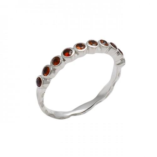Faceted Round Shape Garnet Gemstone 925 Sterling Silver Designer Ring