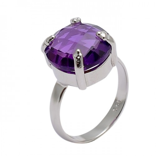 Round Shape Amethyst Gemstone 925 Sterling Silver Prong Setting Ring