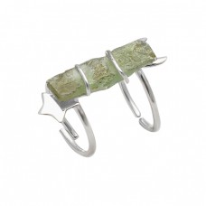 Rectangle Shape Green Apatite Gemstone 925 Sterling Silver Designer Ring