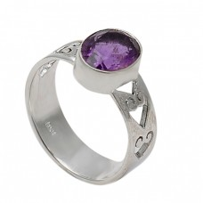 Amethyst Oval Shape Gemstone 925 Sterling Silver Handmade Designer Ring