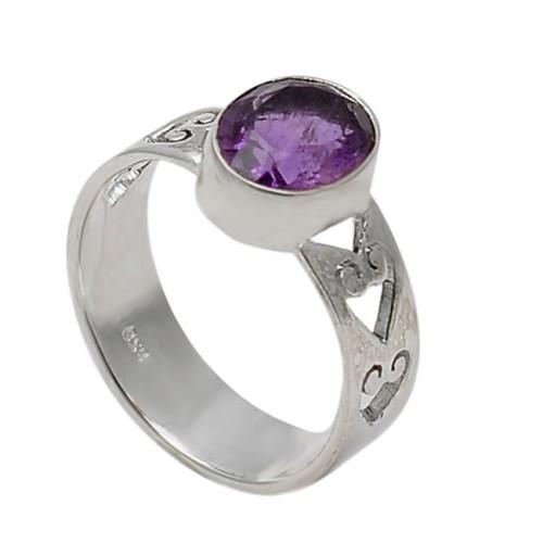 Amethyst Oval Shape Gemstone 925 Sterling Silver Handmade Designer Ring