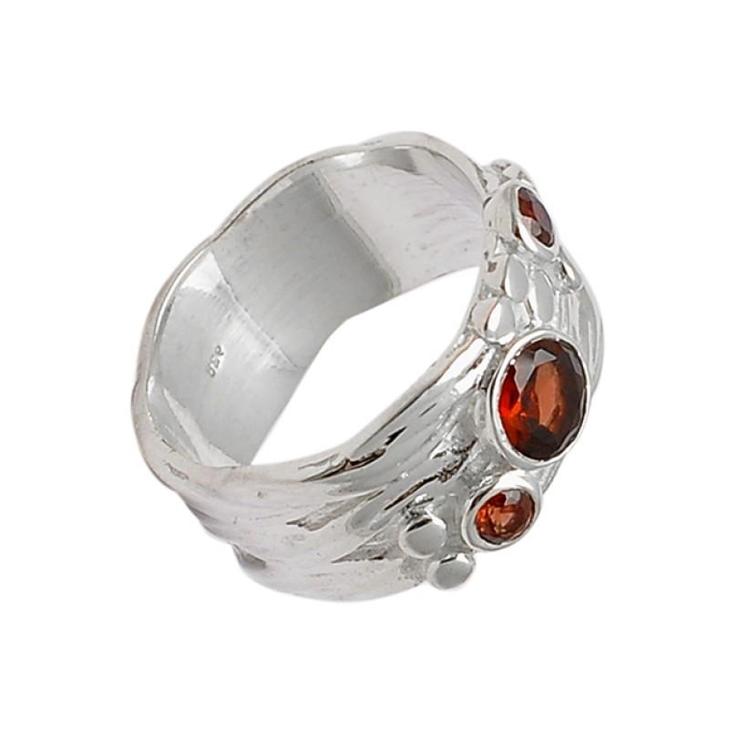 Red Garnet Round Shape 925 Sterling Silver Handmade Designer Ring Jewelry