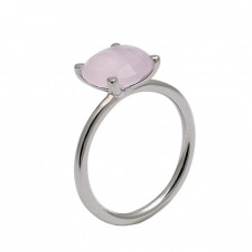 Round Shape Rose Chalcedony Gemstone 925 Sterling Silver Ring Jewelry