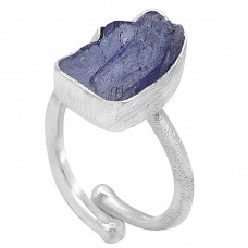 Nice Blue Tanzanite Raw Material Rough Gemstone Handcrafted 925 Sterling Silver Jewelry Ring