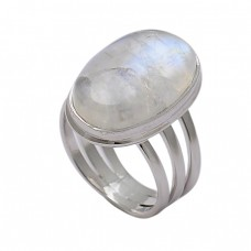 Oval Shape Rainbow Moonstone 925 Sterling Silver Designer Ring Jewelry