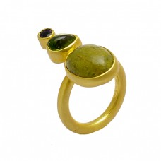 Garnet Peridot Sticktite Gemstone 925 Sterling Silver Gold Plated Ring Jewelry