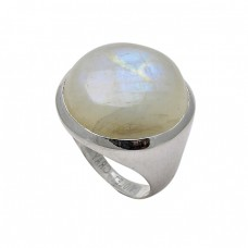 925 Sterling Silver Round Shape Rainbow Moonstone Designer Ring Jewelry